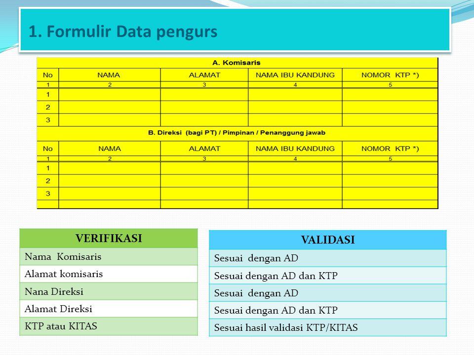 1. Formulir Data pengurs VERIFIKASI Nama Komisaris Alamat komisaris Nana Direksi Alamat Direksi KTP atau KITAS VALIDASI Sesuai dengan AD Sesuai dengan