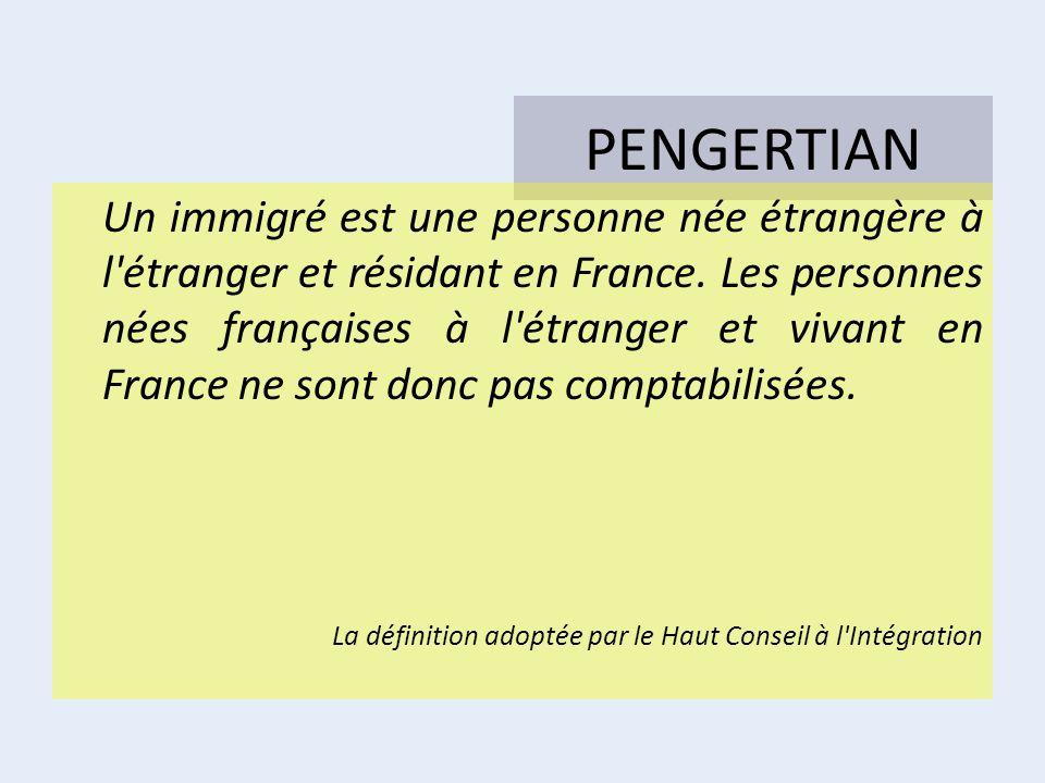 PENGERTIAN Un immigré est une personne née étrangère à l'étranger et résidant en France. Les personnes nées françaises à l'étranger et vivant en Franc
