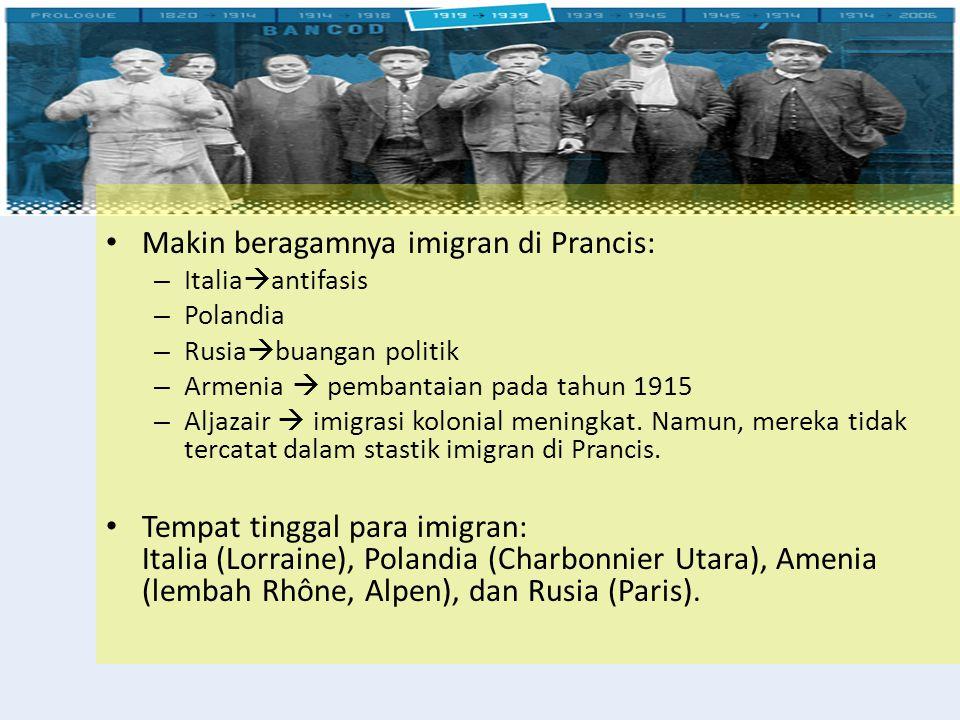 Makin beragamnya imigran di Prancis: – Italia  antifasis – Polandia – Rusia  buangan politik – Armenia  pembantaian pada tahun 1915 – Aljazair  im