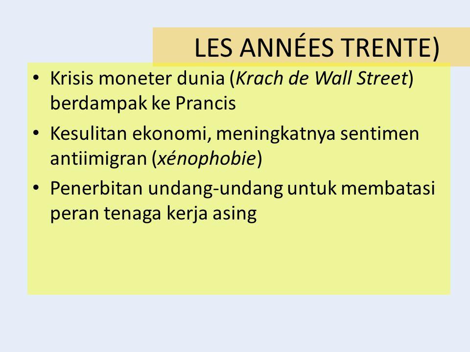 LES ANNÉES TRENTE) Krisis moneter dunia (Krach de Wall Street) berdampak ke Prancis Kesulitan ekonomi, meningkatnya sentimen antiimigran (xénophobie)