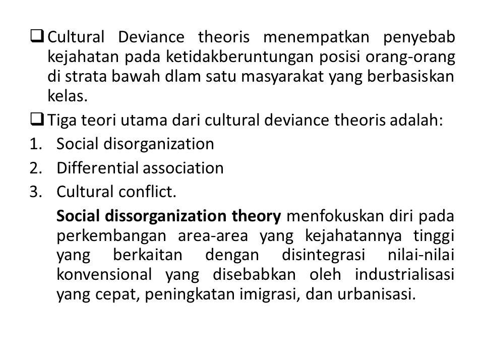  Cultural Deviance theoris menempatkan penyebab kejahatan pada ketidakberuntungan posisi orang-orang di strata bawah dlam satu masyarakat yang berbas