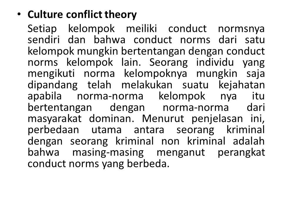 Culture conflict theory Setiap kelompok meiliki conduct normsnya sendiri dan bahwa conduct norms dari satu kelompok mungkin bertentangan dengan conduc