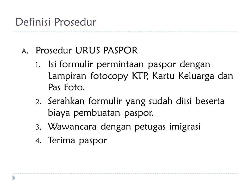 Definisi Prosedur A. Prosedur URUS PASPOR 1. Isi formulir permintaan paspor dengan Lampiran fotocopy KTP, Kartu Keluarga dan Pas Foto. 2. Serahkan for