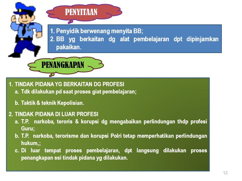 PEMERIKSAAN PENGGELEDAHAN 1.TINDAK PIDANA YG BERKAITAN DG PROFESI : a.Pemeriksaan di Kantor PGRI setempat; b.Situasi tdk memungkinkan di Kantor Kepoli