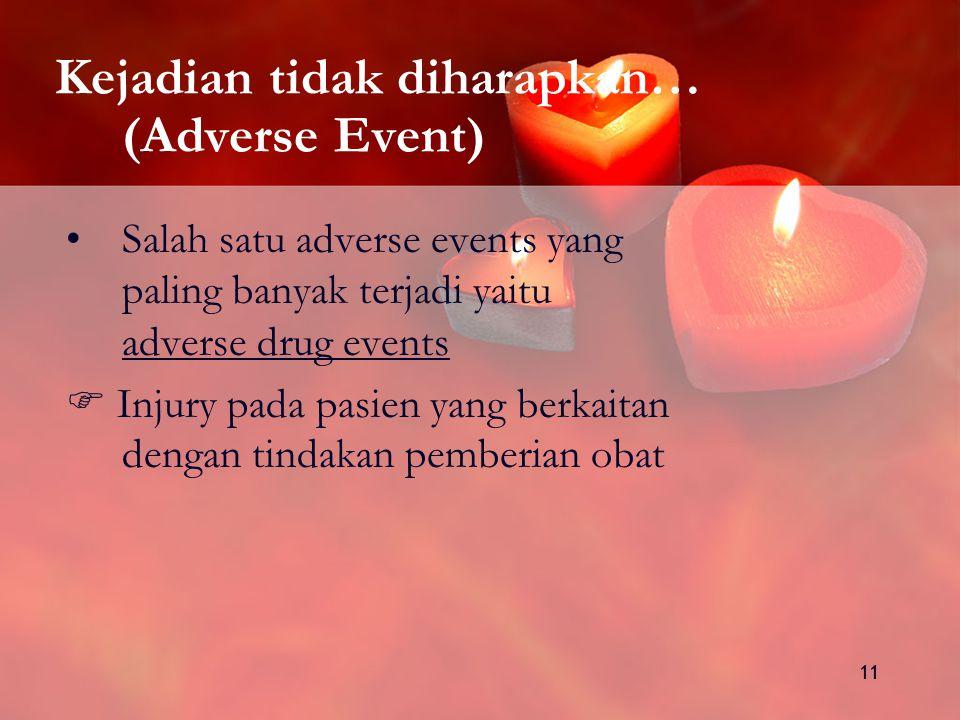 11 Kejadian tidak diharapkan… (Adverse Event) Salah satu adverse events yang paling banyak terjadi yaitu adverse drug events  Injury pada pasien yang berkaitan dengan tindakan pemberian obat