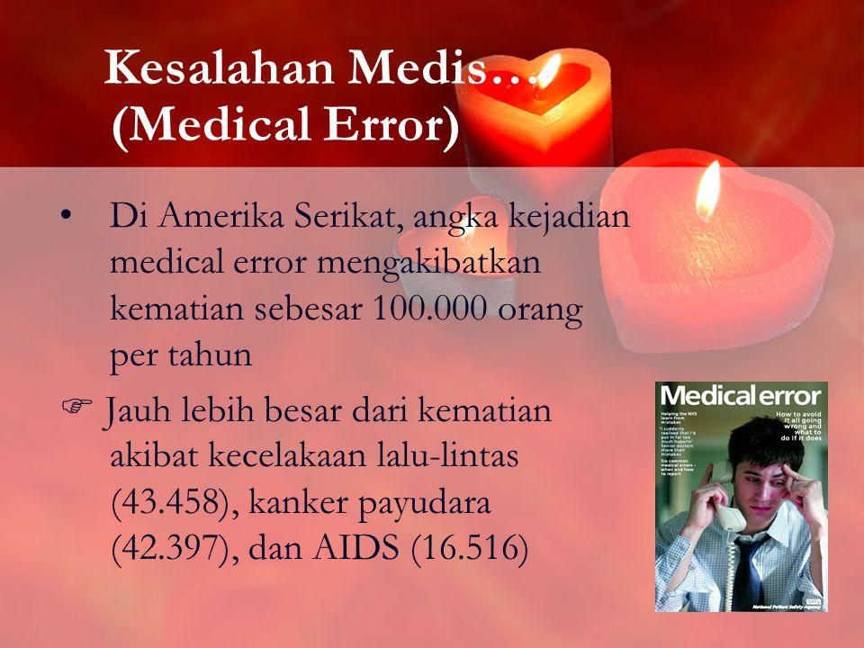 15 Kesalahan Medis… (Medical Error) Di Amerika Serikat, angka kejadian medical error mengakibatkan kematian sebesar 100.000 orang per tahun  Jauh lebih besar dari kematian akibat kecelakaan lalu-lintas (43.458), kanker payudara (42.397), dan AIDS (16.516)