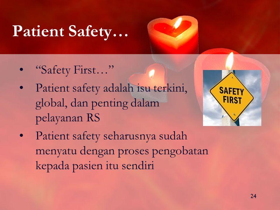 24 Patient Safety… Safety First… Patient safety adalah isu terkini, global, dan penting dalam pelayanan RS Patient safety seharusnya sudah menyatu dengan proses pengobatan kepada pasien itu sendiri
