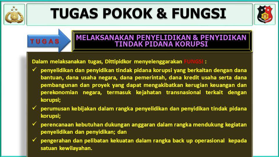 TUGAS POKOK & FUNGSI Dalam melaksanakan tugas, Dittipidkor menyelenggarakan FUNGSI : penyelidikan dan penyidikan tindak pidana korupsi yang berkaitan
