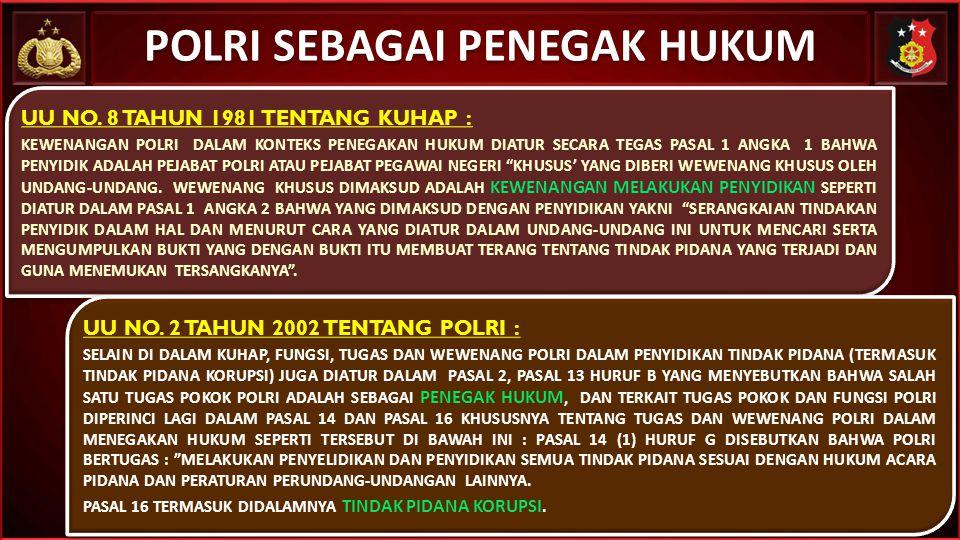 POLRI SEBAGAI PENEGAK HUKUM UU NO. 8 TAHUN 1981 TENTANG KUHAP : KEWENANGAN POLRI DALAM KONTEKS PENEGAKAN HUKUM DIATUR SECARA TEGAS PASAL 1 ANGKA 1 BAH