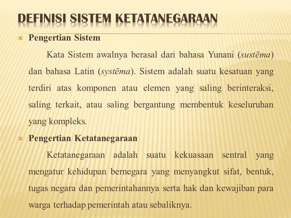 Menurut UUD 1945 sistem ketatanegaraan Indonesia adalah sebagai berikut: a.
