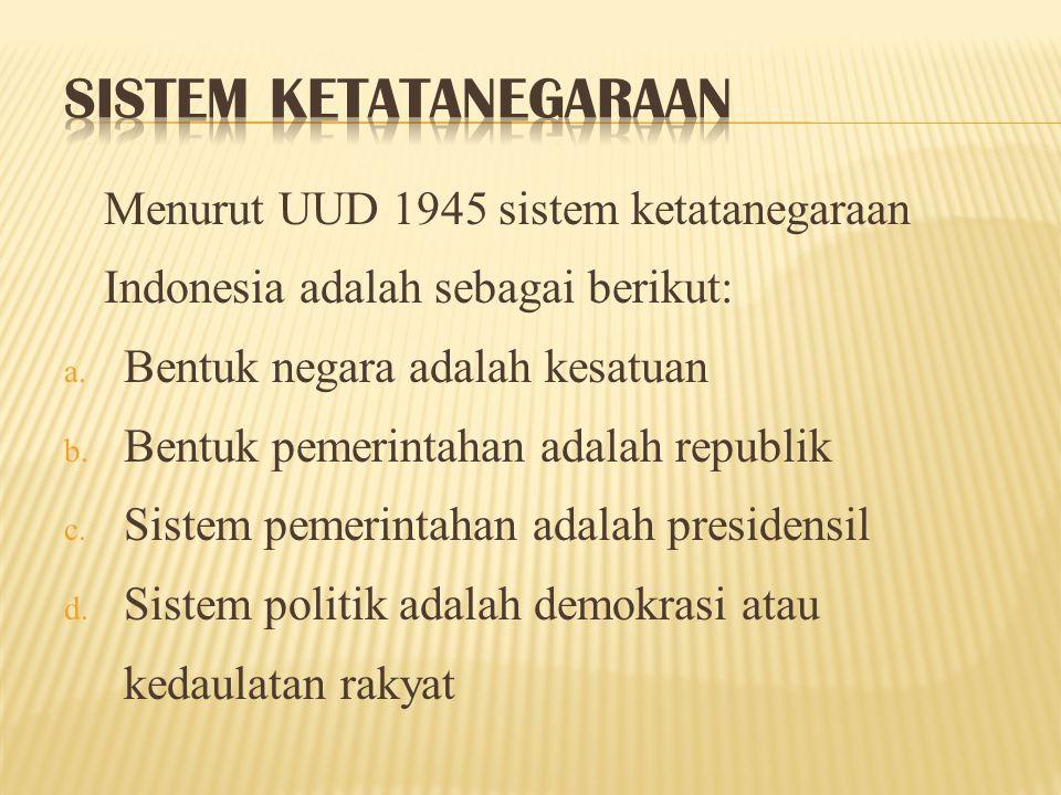 Negara Indonesia ialah negara kesatuan, yang berbentuk republik (pasal 1 ayat 1 UUD 1945).