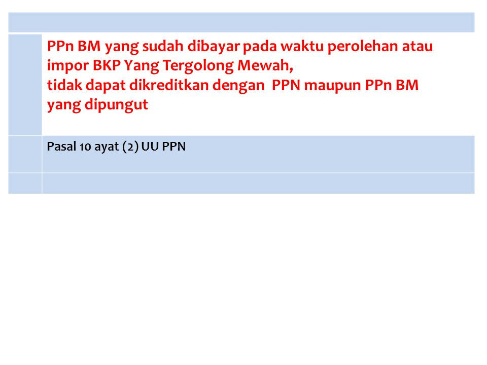 PPn BM yang sudah dibayar pada waktu perolehan atau impor BKP Yang Tergolong Mewah, tidak dapat dikreditkan dengan PPN maupun PPn BM yang dipungut Pas
