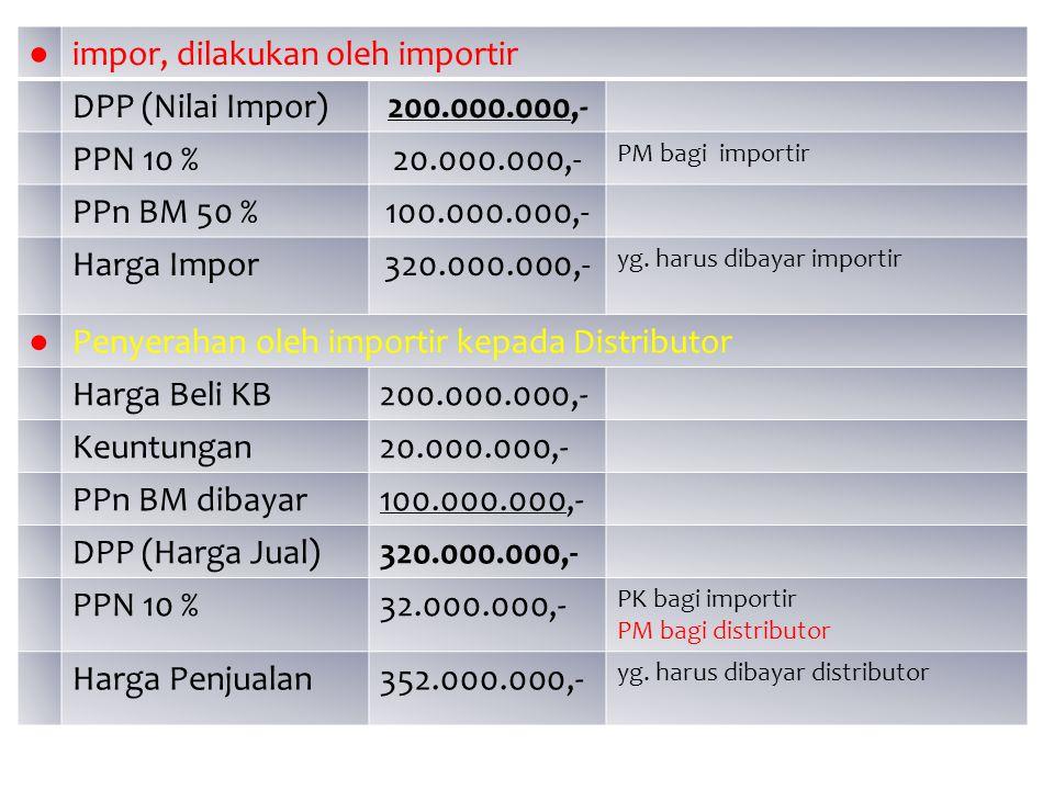 ● impor, dilakukan oleh importir DPP (Nilai Impor)200.000.000,- PPN 10 %20.000.000,- PM bagi importir PPn BM 50 %100.000.000,- Harga Impor320.000.000,