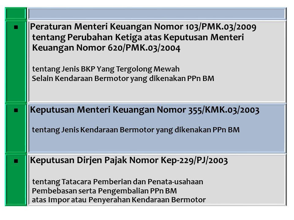 ■ Peraturan Menteri Keuangan Nomor 103/PMK.03/2009 tentang Perubahan Ketiga atas Keputusan Menteri Keuangan Nomor 620/PMK.03/2004 tentang Jenis BKP Ya
