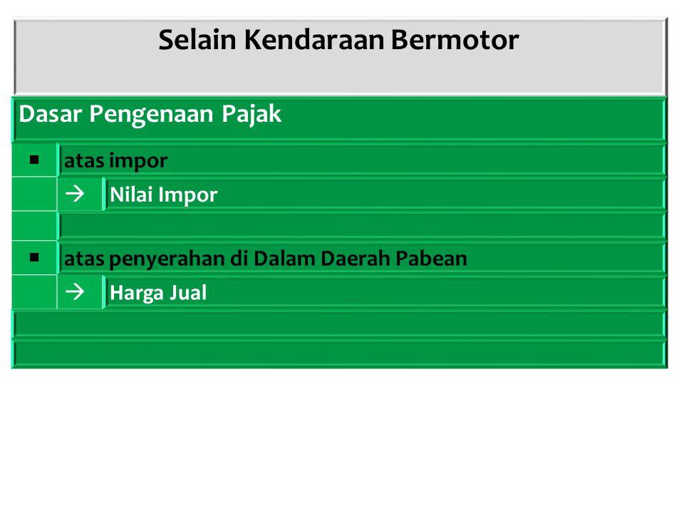 Selain Kendaraan Bermotor Dasar Pengenaan Pajak ■ atas impor  Nilai Impor ■ atas penyerahan di Dalam Daerah Pabean  Harga Jual