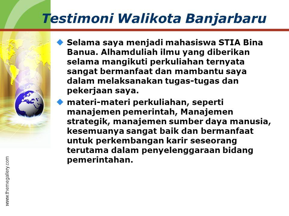 Testimoni Walikota Banjarbaru  Selama saya menjadi mahasiswa STIA Bina Banua. Alhamduliah ilmu yang diberikan selama mangikuti perkuliahan ternyata s