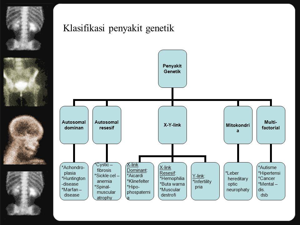 Klasifikasi penyakit genetik Penyakit Genetik Autosomal dominan *Achondro- plasia *Huntington-disease *Marfan – disease Autosomal resesif *Cystic – fibrosis *Sickle cel – anemia *Spinal- muscular atrophy X-Y-link X-link Dominant: *Aicardi *Klinefelter *Hipo- phospatemia X-link Resesif: *Hemophilia *Buta warna *Muscular destrofi Y-link: *Infertility pria Mitokondria *Leber hereditary optic neurophaty Multi-factorial *Autisme *Hipertensi *Cancer *Mental –dis.