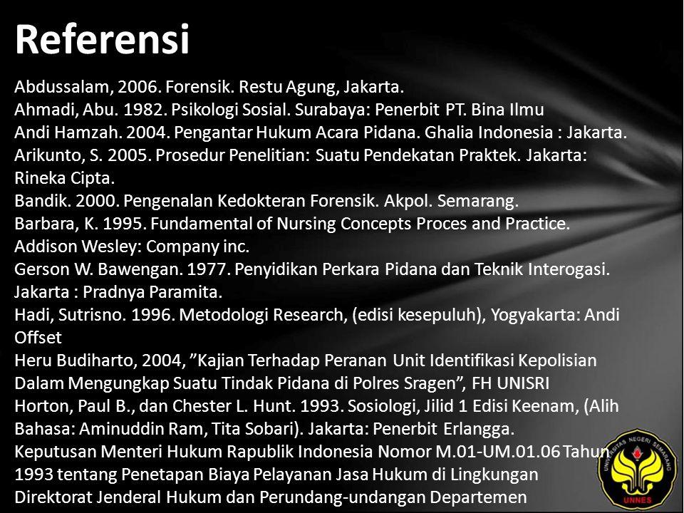 Referensi Abdussalam, 2006. Forensik. Restu Agung, Jakarta.
