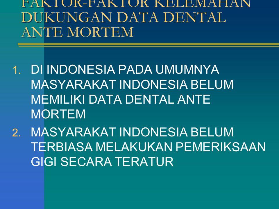 FAKTOR-FAKTOR KELEMAHAN DUKUNGAN DATA DENTAL ANTE MORTEM 1. DI INDONESIA PADA UMUMNYA MASYARAKAT INDONESIA BELUM MEMILIKI DATA DENTAL ANTE MORTEM 2. M