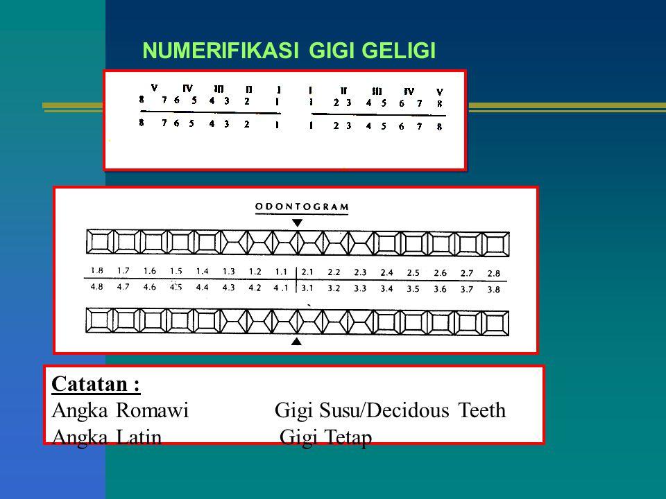 NUMERIFIKASI GIGI GELIGI Catatan : Angka Romawi Gigi Susu/Decidous Teeth Angka Latin Gigi Tetap
