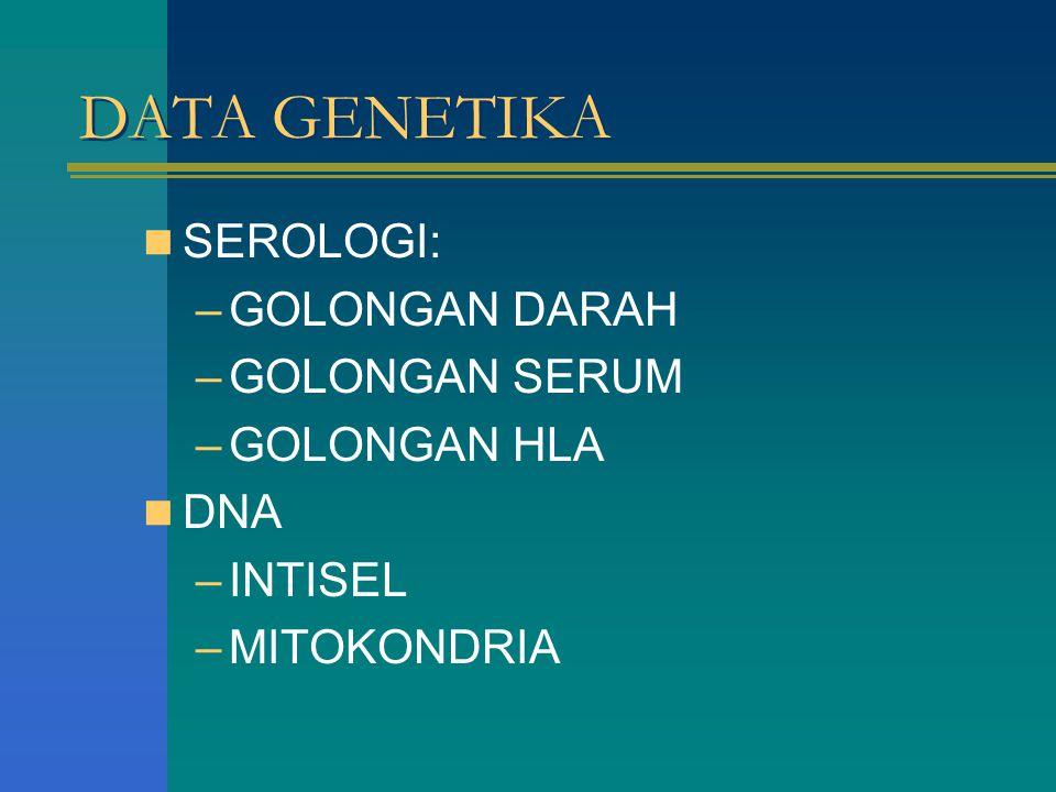 DATA GENETIKA SEROLOGI: –GOLONGAN DARAH –GOLONGAN SERUM –GOLONGAN HLA DNA –INTISEL –MITOKONDRIA