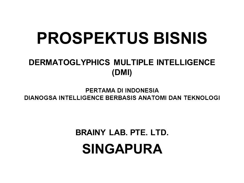 PROSPEKTUS BISNIS DERMATOGLYPHICS MULTIPLE INTELLIGENCE (DMI) PERTAMA DI INDONESIA DIANOGSA INTELLIGENCE BERBASIS ANATOMI DAN TEKNOLOGI BRAINY LAB. PT