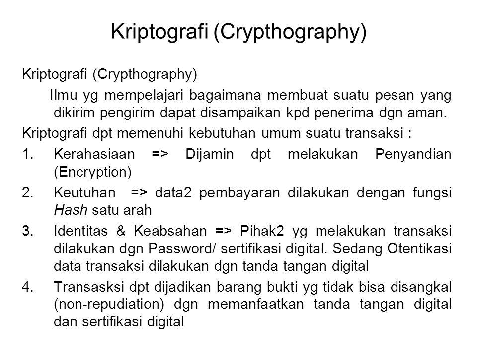 Kriptografi (Crypthography) Ilmu yg mempelajari bagaimana membuat suatu pesan yang dikirim pengirim dapat disampaikan kpd penerima dgn aman. Kriptogra