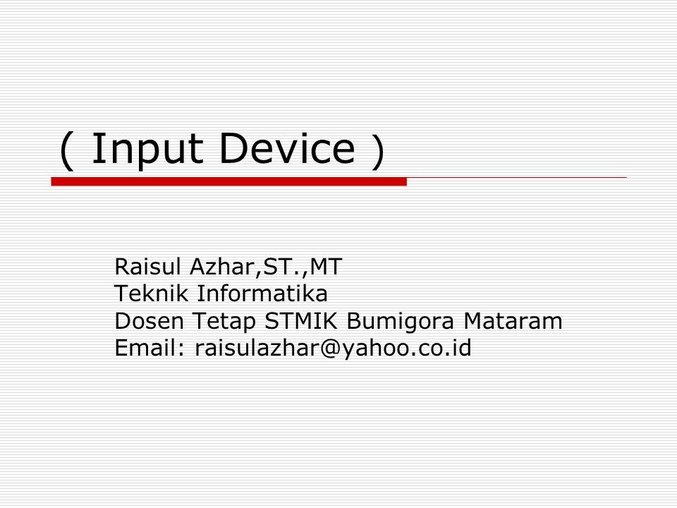 ( Input Device ) Raisul Azhar,ST.,MT Teknik Informatika Dosen Tetap STMIK Bumigora Mataram Email: raisulazhar@yahoo.co.id