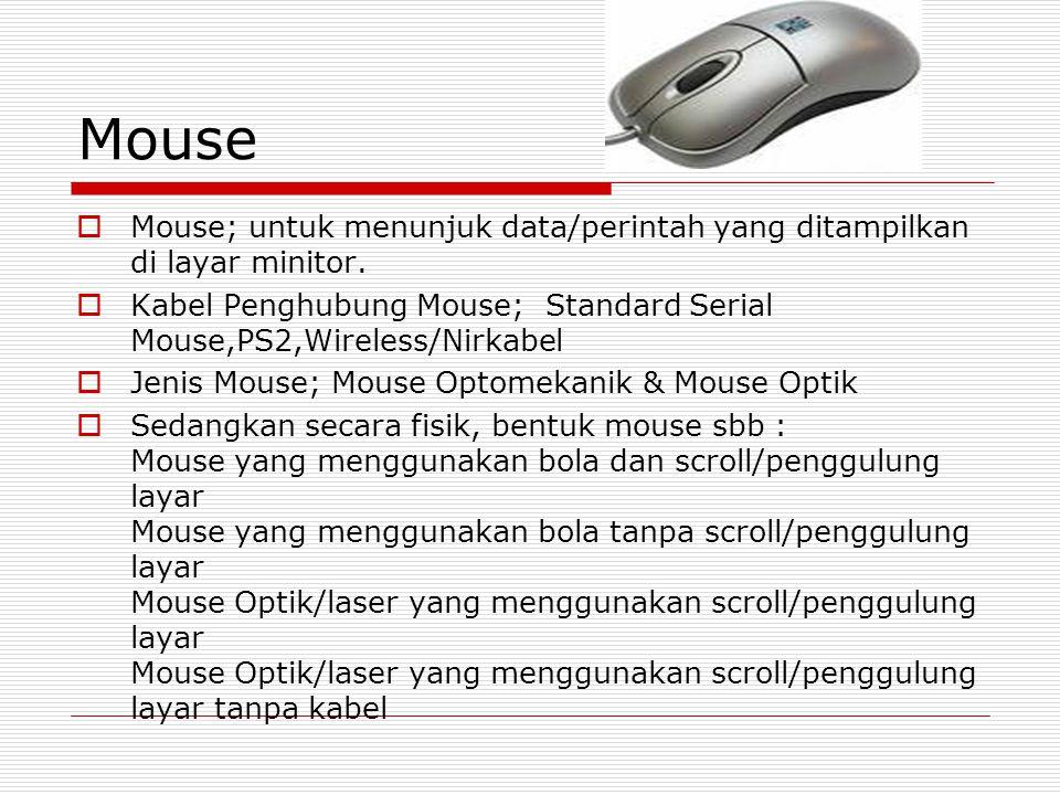 Mouse  Mouse; untuk menunjuk data/perintah yang ditampilkan di layar minitor.  Kabel Penghubung Mouse; Standard Serial Mouse,PS2,Wireless/Nirkabel 