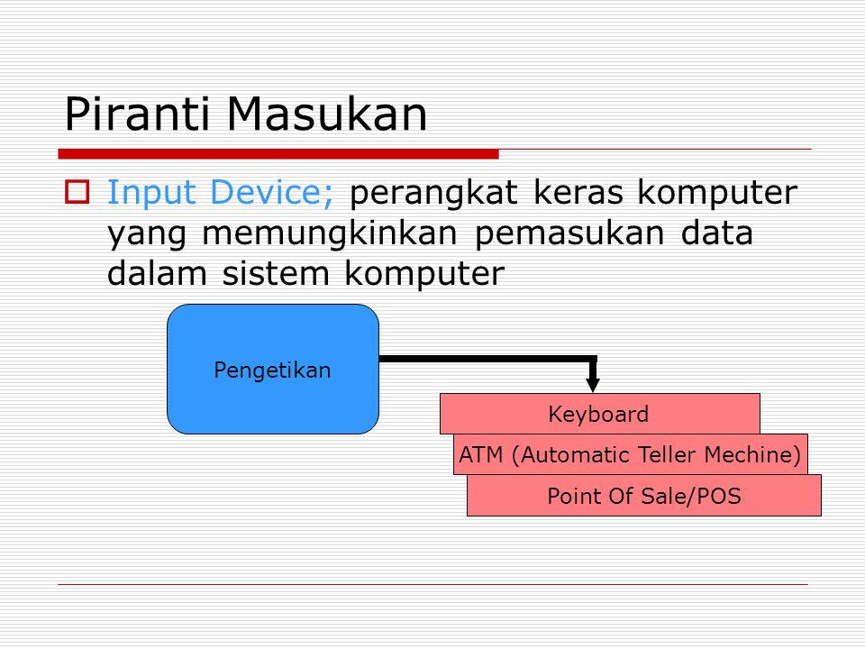 Piranti Masukan  Input Device; perangkat keras komputer yang memungkinkan pemasukan data dalam sistem komputer Pengetikan Keyboard ATM (Automatic Tel