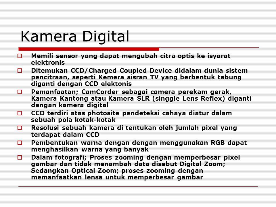 Kamera Digital  Memili sensor yang dapat mengubah citra optis ke isyarat elektronis  Ditemukan CCD/Charged Coupled Device didalam dunia sistem penci