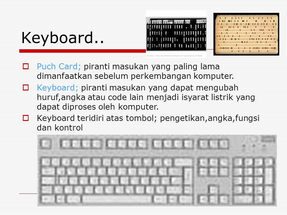 Keyboard..  Puch Card; piranti masukan yang paling lama dimanfaatkan sebelum perkembangan komputer.  Keyboard; piranti masukan yang dapat mengubah h