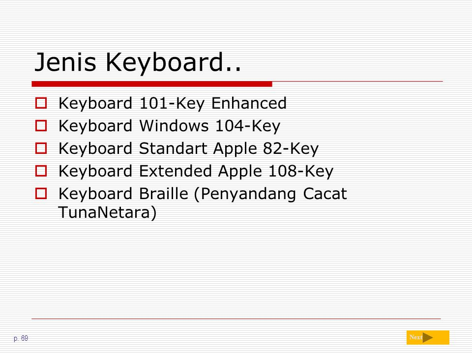Jenis Keyboard..  Keyboard 101-Key Enhanced  Keyboard Windows 104-Key  Keyboard Standart Apple 82-Key  Keyboard Extended Apple 108-Key  Keyboard