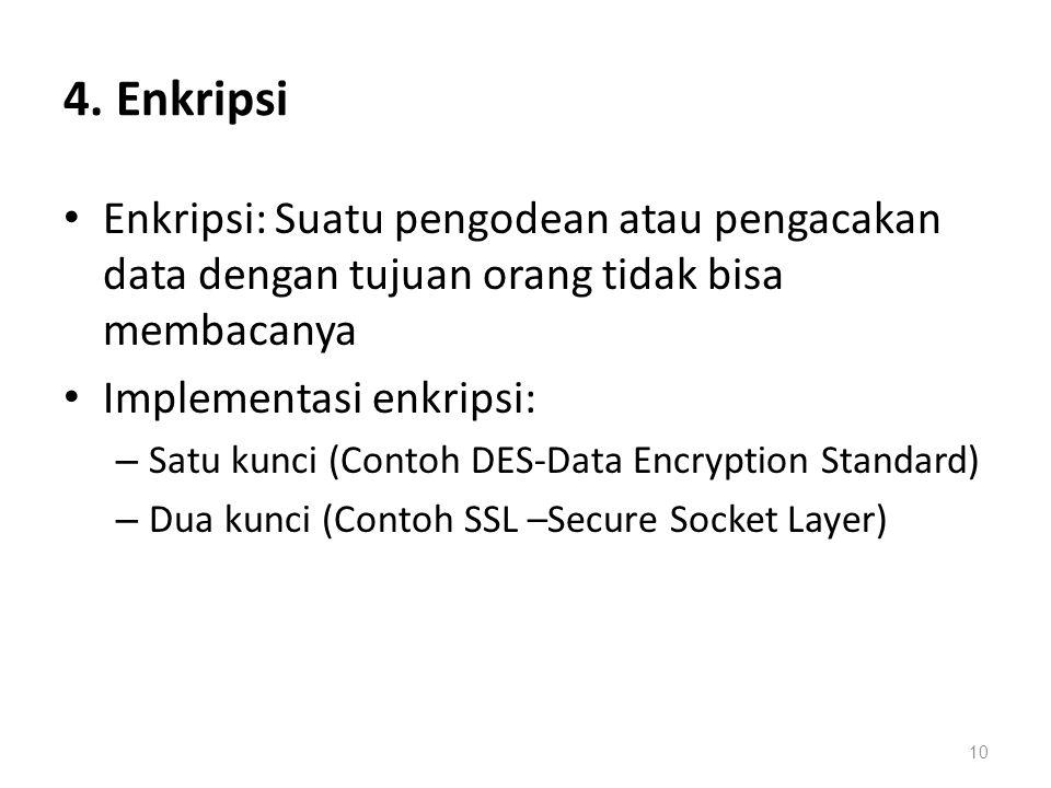 4. Enkripsi Enkripsi: Suatu pengodean atau pengacakan data dengan tujuan orang tidak bisa membacanya Implementasi enkripsi: – Satu kunci (Contoh DES-D