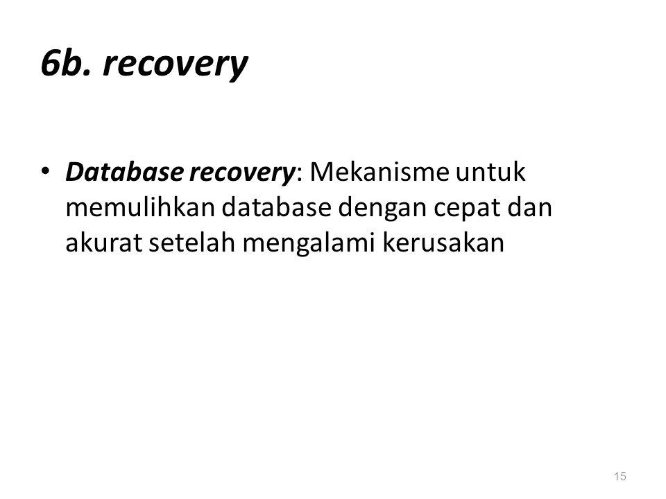 6b. recovery Database recovery: Mekanisme untuk memulihkan database dengan cepat dan akurat setelah mengalami kerusakan 15