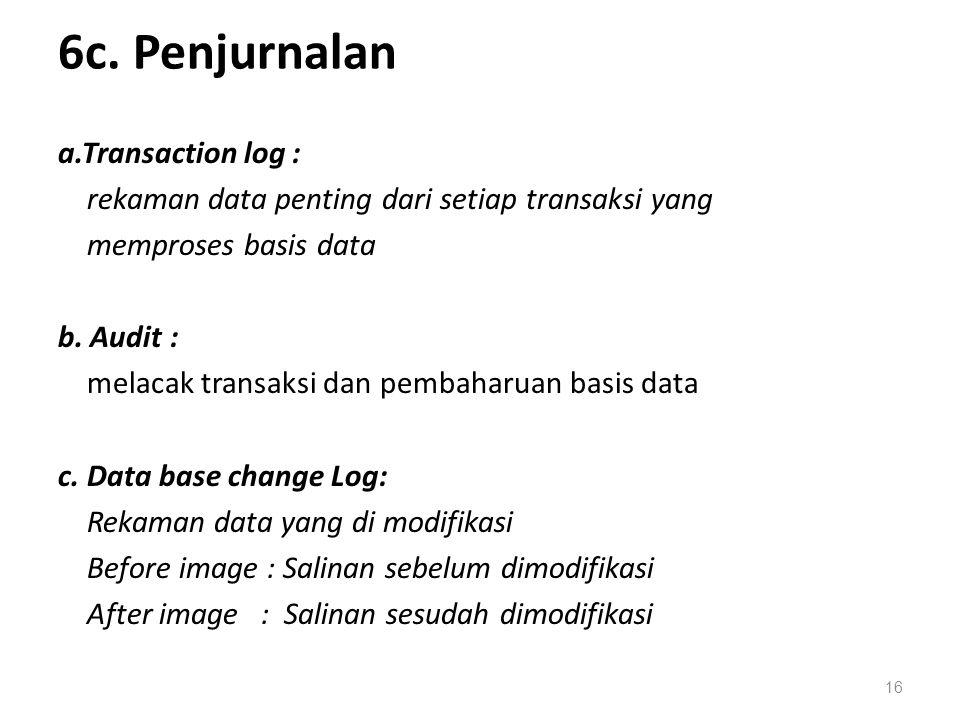 6c. Penjurnalan a.Transaction log : rekaman data penting dari setiap transaksi yang memproses basis data b. Audit : melacak transaksi dan pembaharuan