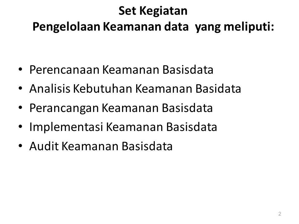 Set Kegiatan Pengelolaan Keamanan data yang meliputi: Perencanaan Keamanan Basisdata Analisis Kebutuhan Keamanan Basidata Perancangan Keamanan Basisda