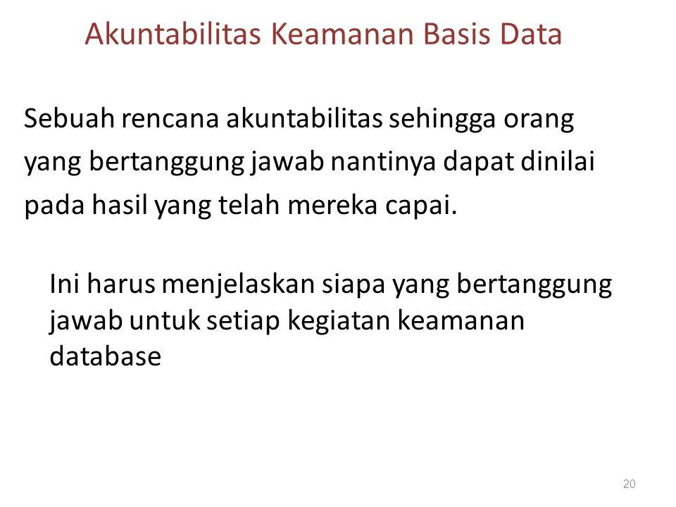 Akuntabilitas Keamanan Basis Data Sebuah rencana akuntabilitas sehingga orang yang bertanggung jawab nantinya dapat dinilai pada hasil yang telah mere