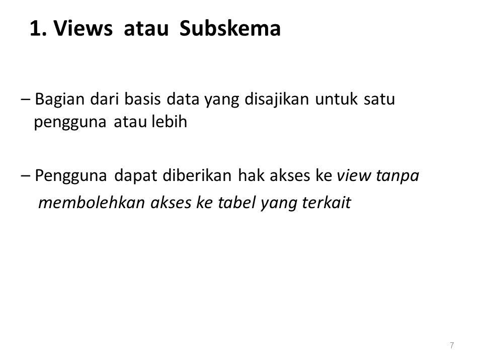 1. Views atau Subskema – Bagian dari basis data yang disajikan untuk satu pengguna atau lebih – Pengguna dapat diberikan hak akses ke view tanpa membo