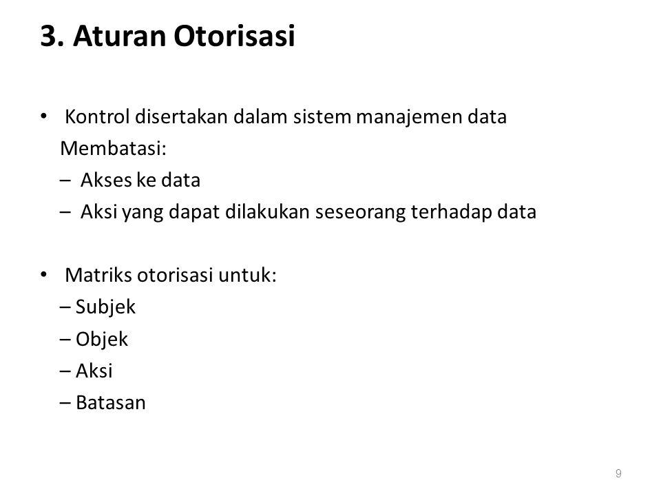 3. Aturan Otorisasi Kontrol disertakan dalam sistem manajemen data Membatasi: – Akses ke data – Aksi yang dapat dilakukan seseorang terhadap data Matr