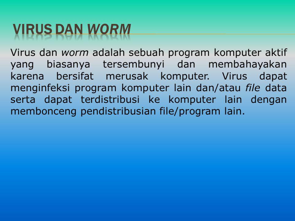 Virus dan worm adalah sebuah program komputer aktif yang biasanya tersembunyi dan membahayakan karena bersifat merusak komputer. Virus dapat menginfek