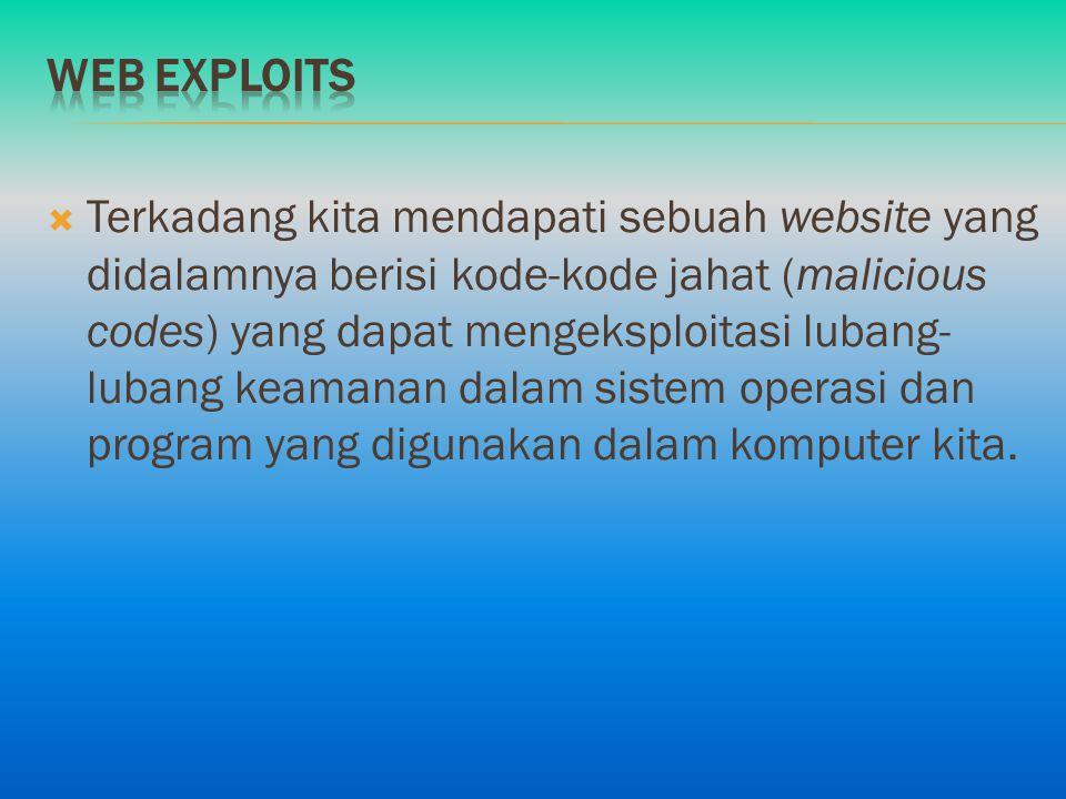  Terkadang kita mendapati sebuah website yang didalamnya berisi kode-kode jahat (malicious codes) yang dapat mengeksploitasi lubang- lubang keamanan