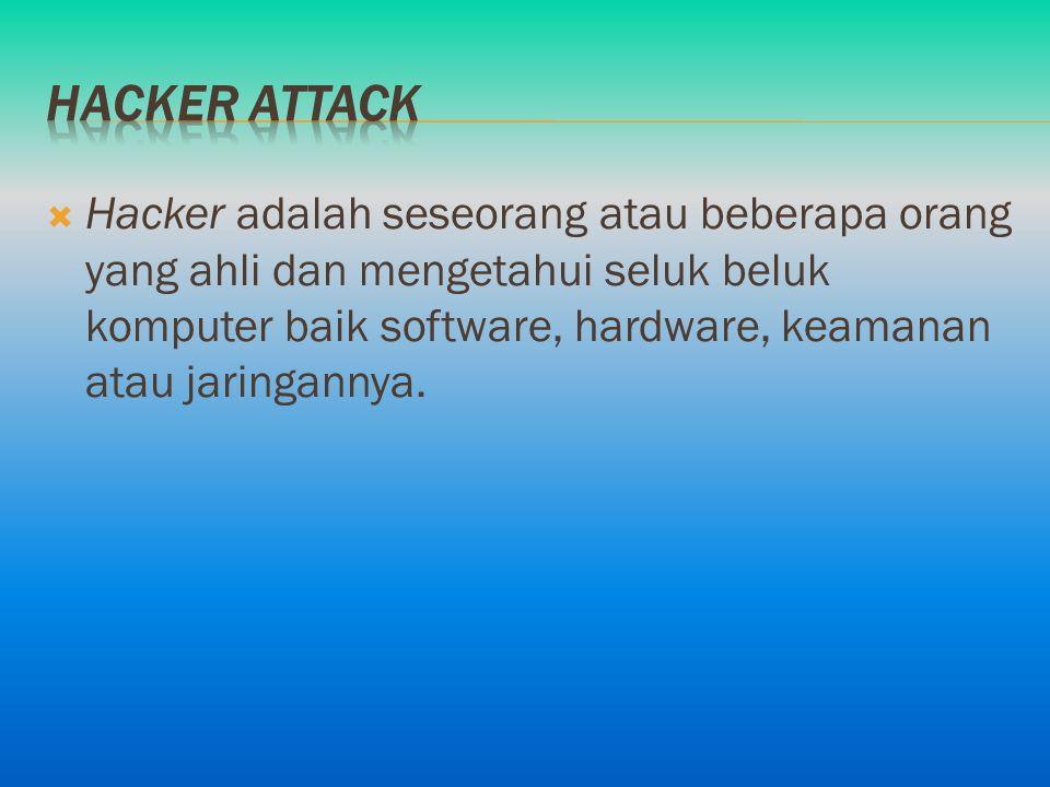  Hacker adalah seseorang atau beberapa orang yang ahli dan mengetahui seluk beluk komputer baik software, hardware, keamanan atau jaringannya.