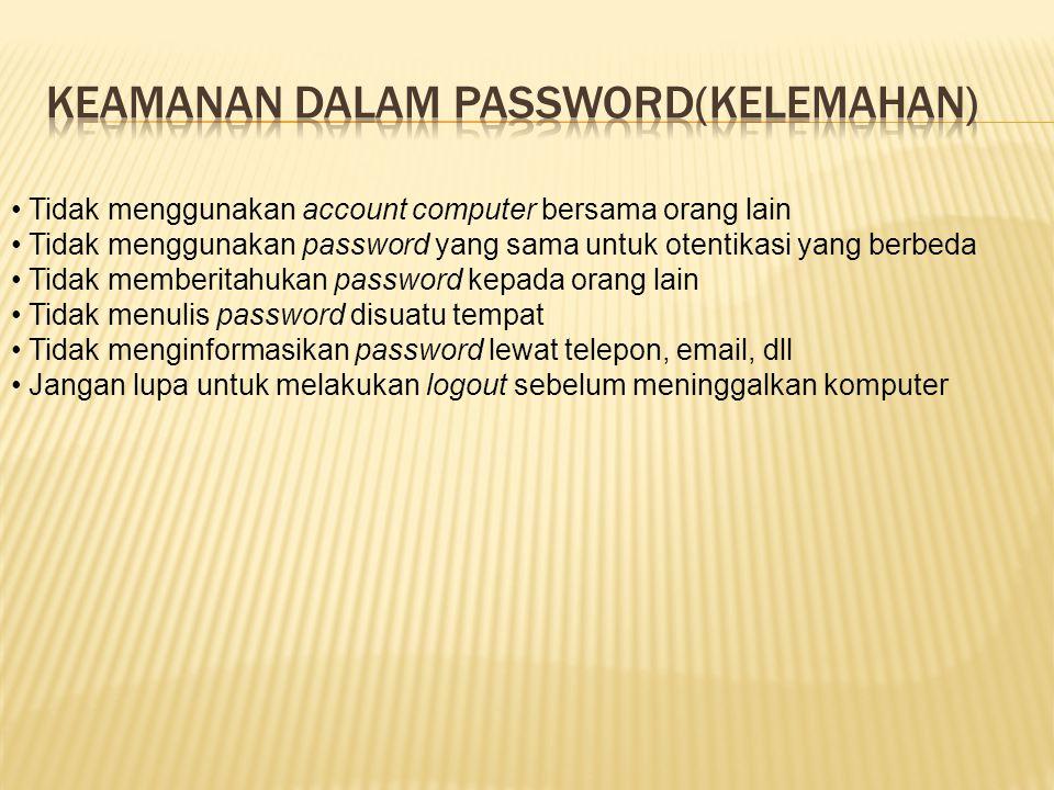 Tidak menggunakan account computer bersama orang lain Tidak menggunakan password yang sama untuk otentikasi yang berbeda Tidak memberitahukan password