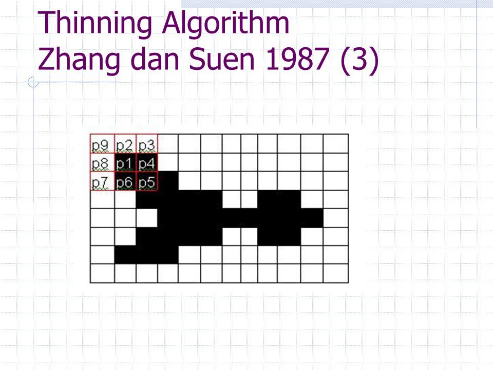 Thinning Algorithm Zhang dan Suen 1987 (4) Langkah 3 Lakukan penghapusan semua piksel ( nilai derajat keabuan piksel diubah menjadi 0 ) yang telah ditandai pada Langkah 2.