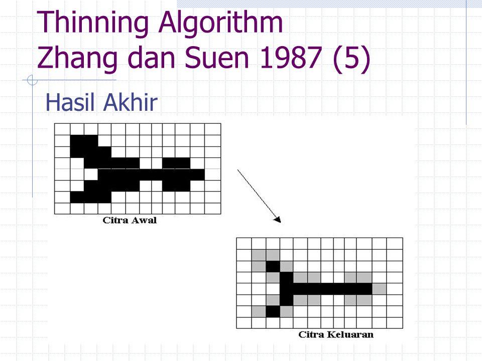 Thinning Algorithm Zhang dan Suen 1987 (5) Hasil Akhir