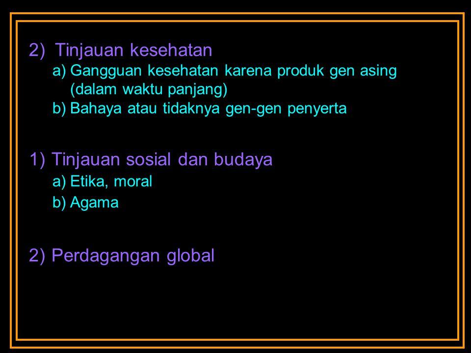 2) Tinjauan kesehatan a)Gangguan kesehatan karena produk gen asing (dalam waktu panjang) b)Bahaya atau tidaknya gen-gen penyerta 1) Tinjauan sosial dan budaya a)Etika, moral b)Agama 2) Perdagangan global