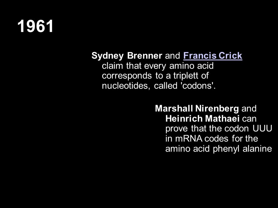 1961 Sydney Brenner and Francis Crick claim that every amino acid corresponds to a triplett of nucleotides, called 'codons'.Francis Crick Marshall Nir