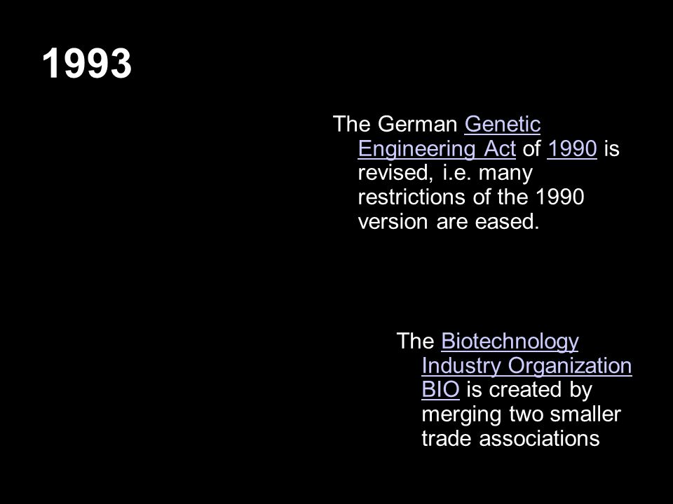 1993 The German Genetic Engineering Act of 1990 is revised, i.e.