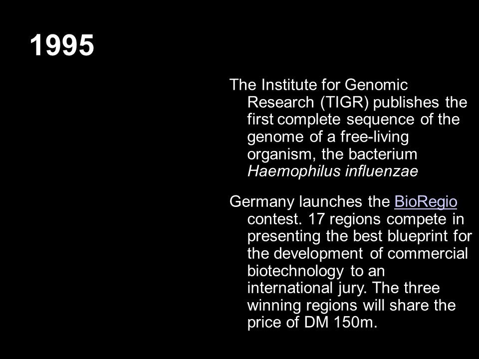 1995 The Institute for Genomic Research (TIGR) publishes the first complete sequence of the genome of a free-living organism, the bacterium Haemophilus influenzae Germany launches the BioRegio contest.